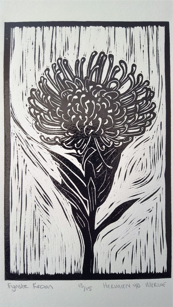 """Fynste Kroon """"Finest Crown"""" Lino (Black): In my Lino art, I purposefully focused my attention on the Fynbos species that usually take the backseat to the King Protea and other obvious showpieces. I discovered the intricate beauty in the lines and shapes and textures of the Leucadendrons and seed pods of the Fynbos biosphere.  I was reminded of God's perspective on the so-called """"least of them"""" - how He lovingly lifts every one of His children up as Royalty."""