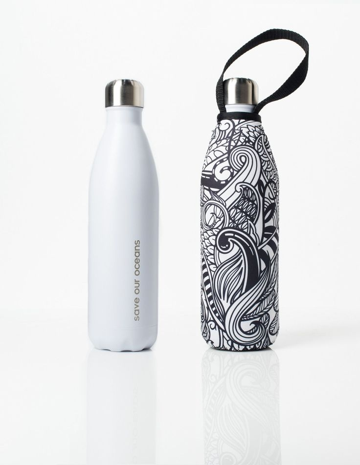 'Future' 25 oz White Travel Bottle and 'Koru' Carry Cover by BBBYO