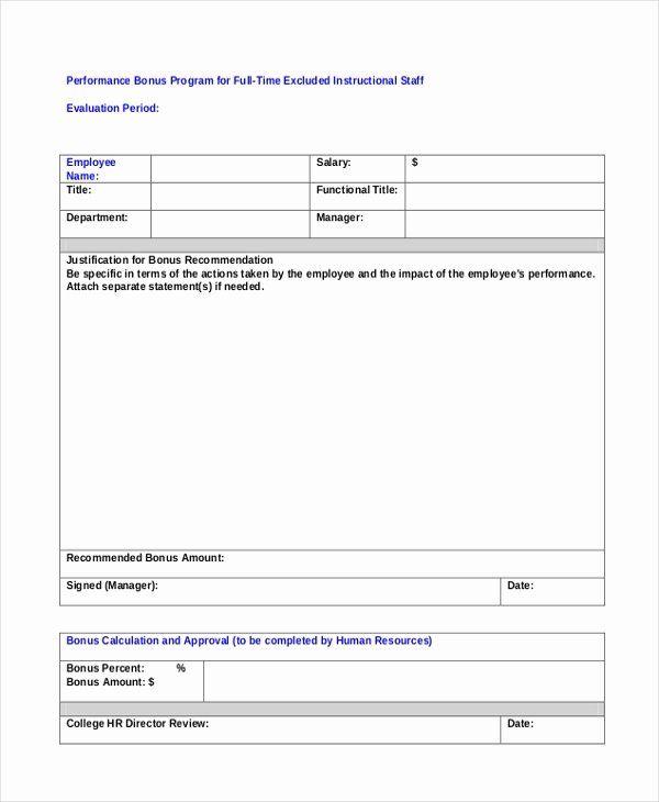 Sample Bonus Plan Document Lovely Sample Employee Appraisal Form