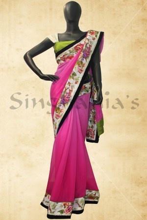 Pink chiffon saree with elegant border-BB413178 class=