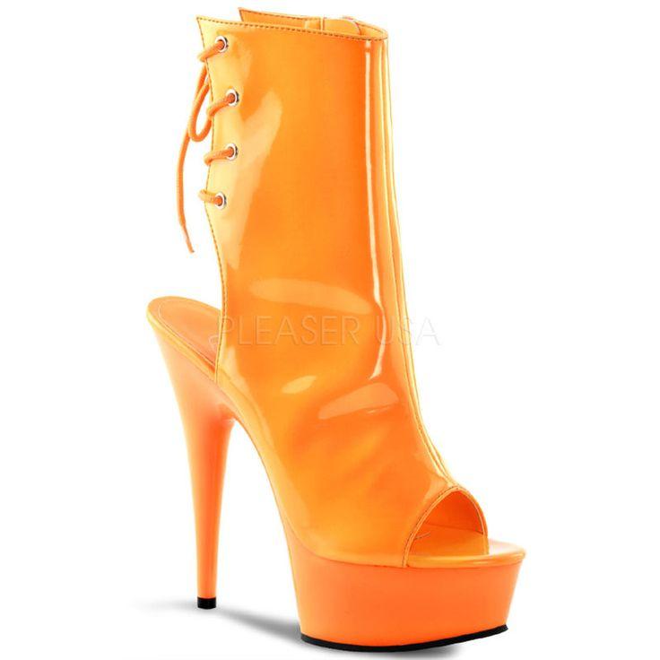 PLEASER DELIGHT-1018UV Neon Orange Pat-Orange Ankle Boots