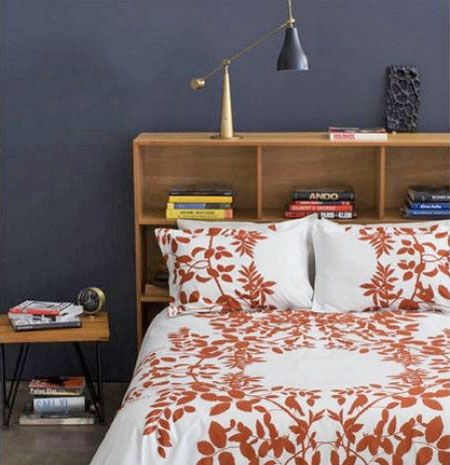 Headboard with Shelf Space For Narrow Rooms. great idea for my room where i have zero space for anything...ever.