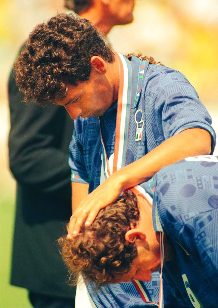 Roberto Baggio consoles Franco Baresi after Italy lose to Brazil in the 1994 World Cup Final on penalties