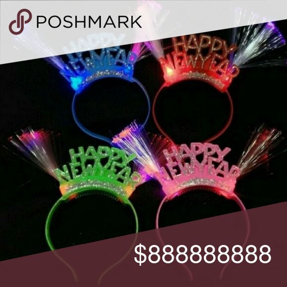 🎉Happy New year  🎉 RED LED flashing blinking glowing Head band $7 each (Gold trim letters No glitter) o Other