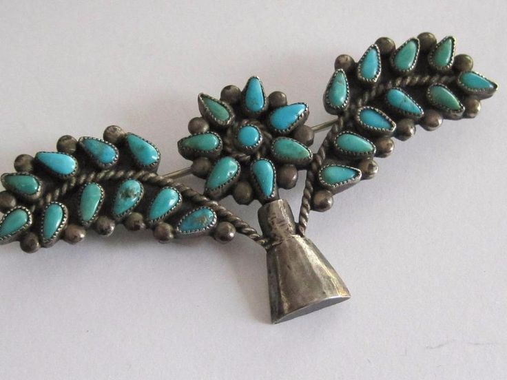Older Pawn Zuni Silver Turquoise Petit Point Needlepoint Floral Brooch Pin