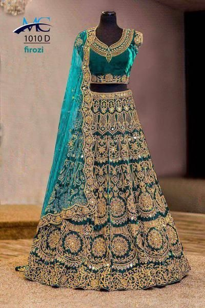 Firozi Blue Velvet Indian Bridal Lehenga Choli [I know absolutely nothing about the differences of Indian Bridal gowns. But I am thrilled by the elegance, the laces, the bright colors. These gowns are stunning!]