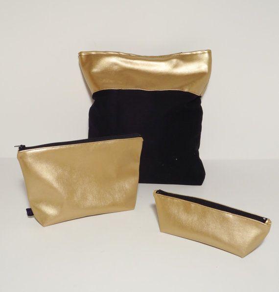 Black ang gold tote bag and purses set - free shipping to EU