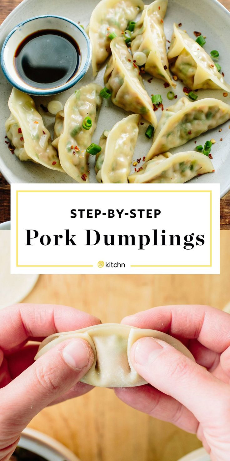 Homemade step by step Chinese pork dumplings from scratch. Pan fried and steamed to perfection. Perfect for dinners and meals if you need ideas for unique suppers. For the dough and the filling: you'll need napa cabbage, kosher salt, ground pork, scallions, cilantro, soy sauce, fresh ginger, sesame oil, eggs and dumpling, wonton, or gyoza wrappers.