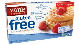 Van's Natural Foods Gluten Free Waffles come in 3 flavors: Original, Apple Cinnamon, and Blueberry