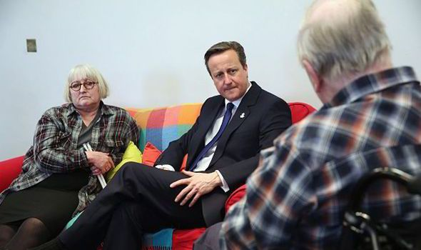 David Cameron heckled by Pensioners Cameron visiting Age UK