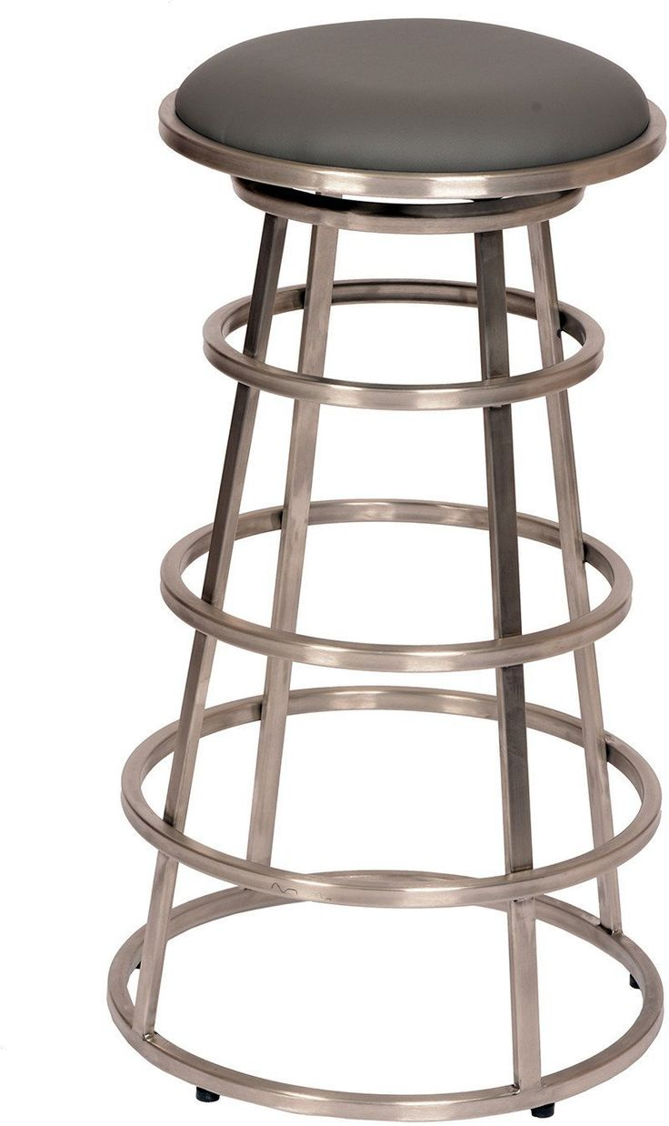 "Armen Living LCRISW26BAGRB201 Ringo 26"" Backless Brushed Stainless Steel Barstool in Gray Pu"