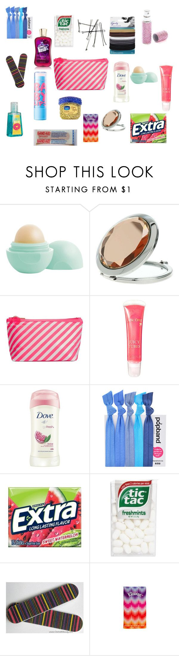 """Middle School Girl Survival Kit"" by alyssa-07 on Polyvore featuring Eos, Miss Selfridge, ban.do, Lancôme, Dove, Popband and girly. Yo tengo un espejo igualito al de la imagen"