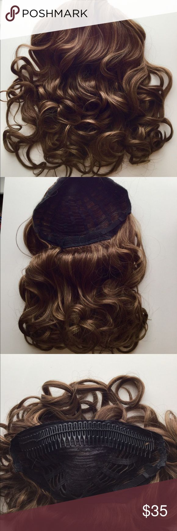 """23"""" Comb in Wavy Synthetic Headband Extension 23"""" long Comb in Half Cap Wavy Headband Extension in Medium Brown. This is a high quality custom made synthetic 1 pc hair extension by the Hair Voyager Co. It can be gently combed out for a less wavy look. Simply apply at crown of head and blend hair back over, OR comb through own hair from front and use your own headband or scarf along the edge. Very versatile! Creates volume and length in a snap! Hair Voyager Accessories Hair Accessories"""