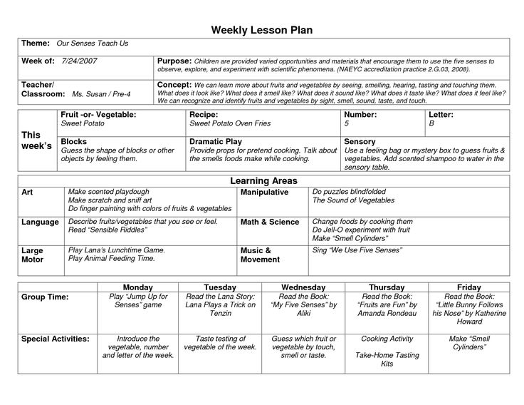NAEYC Lesson Plan Template for Preschool | Sample Weekly Lesson Plan Template
