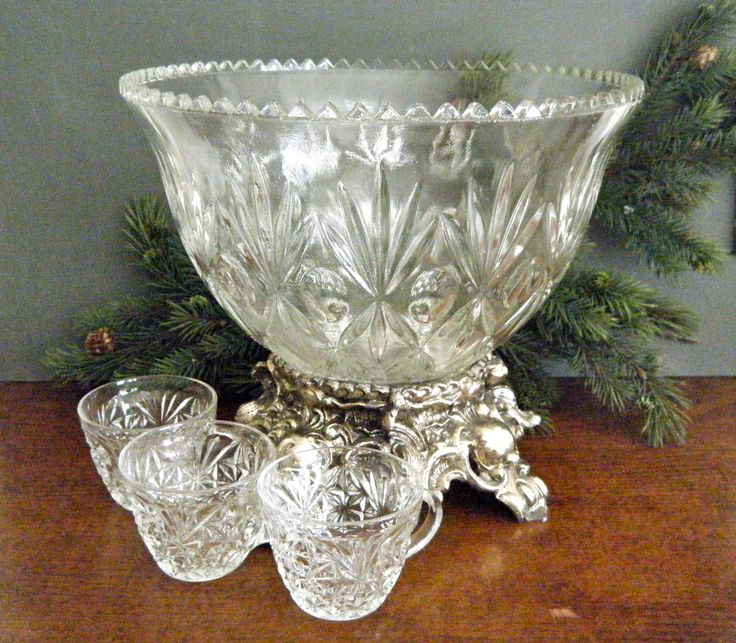 A made up Eclectic Punch Bowl Set... Base, Bowl and Cups are all different: KaiserVonVintage Shop on Etsy