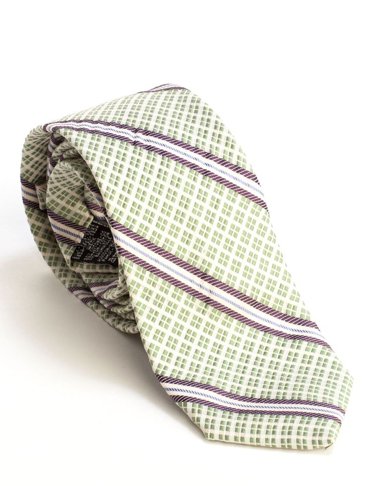 Italian Luxury Woven Stripes Silk Cotton Tie-Green | See more about Silk, Cotton and Stripes.