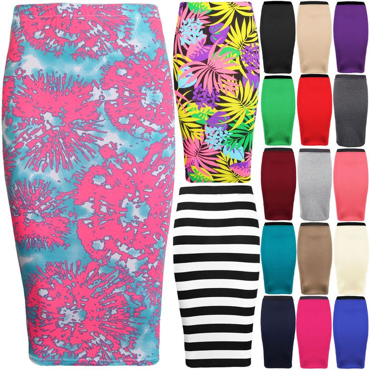 Womens Tube Skirt Stretch Midi Plain Pencil Bodycon Office Plus Size 8-26 #Unbranded #PencilMidiSkirt #Casual