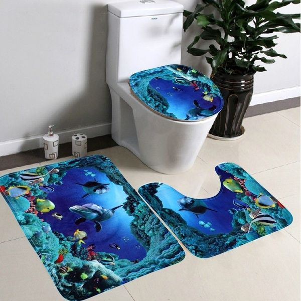 3pcs Set Bathroom Non Slip Blue Ocean Style Pedestal Rug Lid Toilet Cover Bath Mat Wish Toilet Covers Pedestal Rug Blue Bath Mat