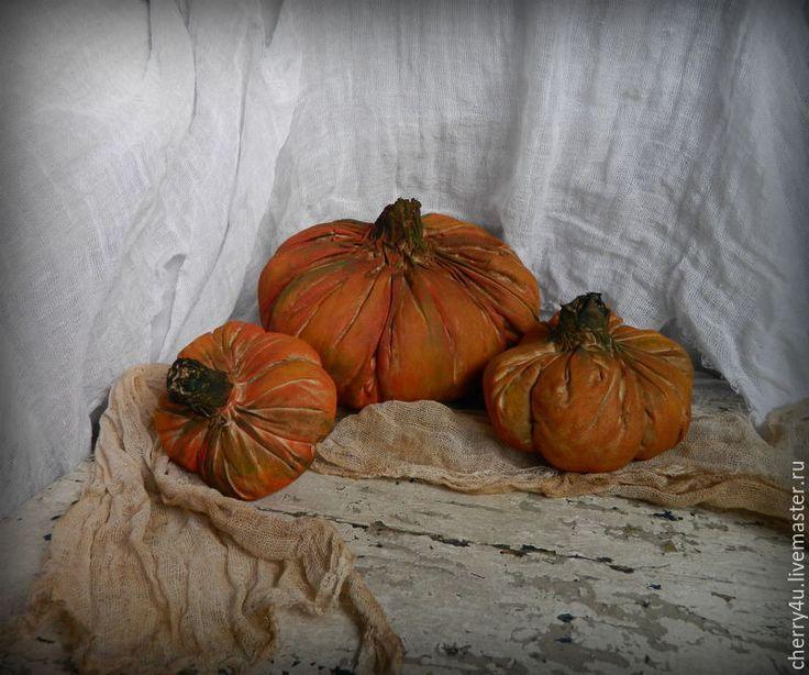 Купить Тыквы чердачные. - рыжий, тыква, тыквы, тыковки, текстильная игрушка, грунтованный текстиль, хеллоуин