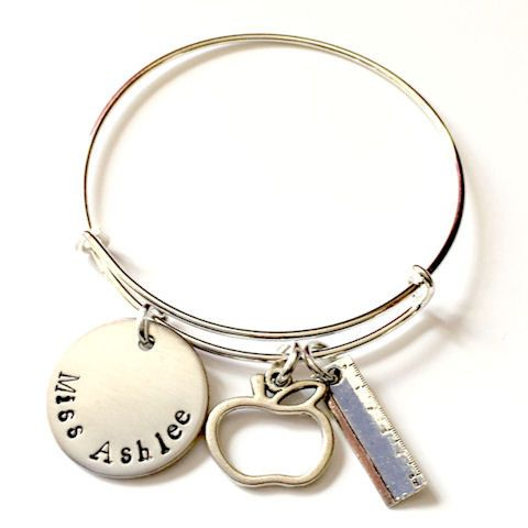 Personalized Teacher Appreciation Gift, Hand Stamped Name Bangle Bracelet