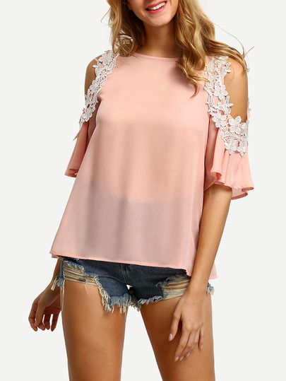 Pink Cold Shoulder Crochet Trim Blouse