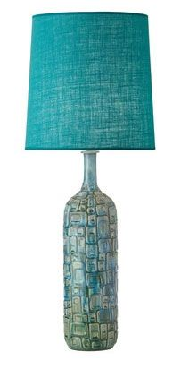 Clyde Table Lamp $499.00  Inspired by the sixties, the Clyde table lamp features blues, turquoises and greens. It has a hessian shade and the base is made from porcelain.