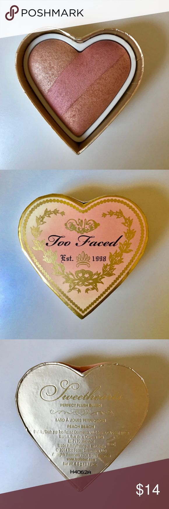 Too Faced Sweethearts Perfect Flush Blush Too Faced sweethearts perfect flush blush in peach beach. This is new and unused, but the box is faded because it was in a clear plastic container on my shelf. Too Faced Makeup Blush