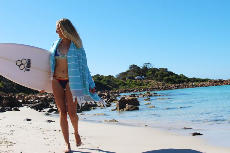 Mayde Turkish Towel - Cottesloe - Blue & Grey | Wild Wolf Collective
