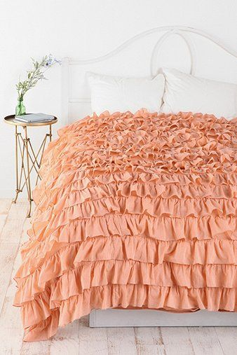 Waterfall Ruffle Duvet Cover - Peach - Full/Queen via Urban Outfitters. LOVE