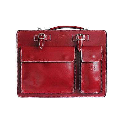 Ladies Red Italian Leather Briefcase/Work Bag(Medium Size) - RRP £74.99, our price - £59.99