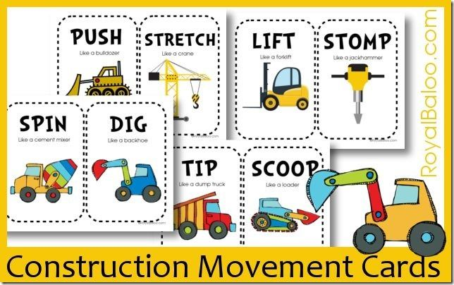 Free Construction Movement Card Printables - Use with Large Dice to create a Movement Game!