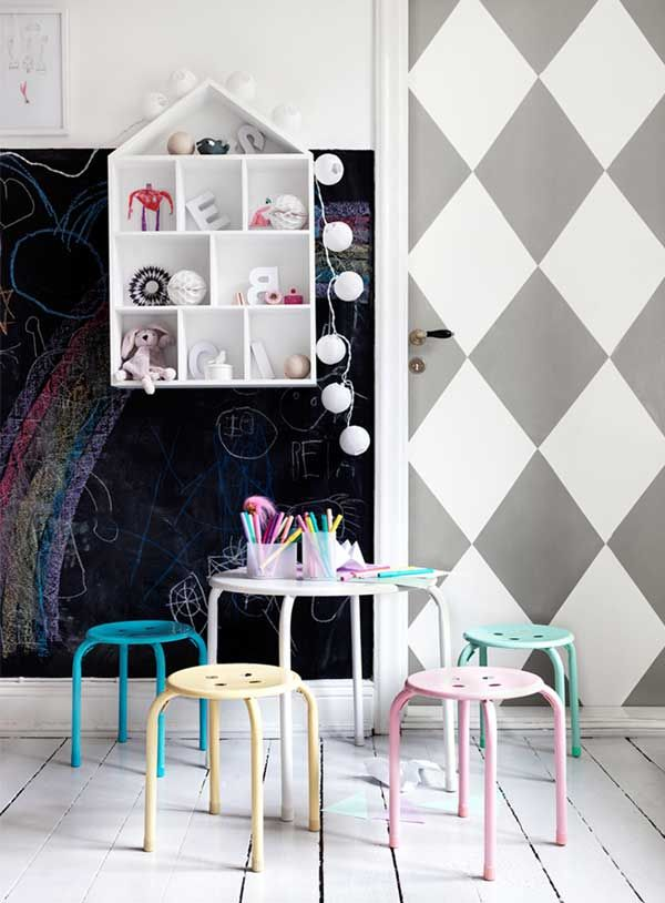playroom και παιδικο δωματιο με μαυροπινακα - διακοσμηση