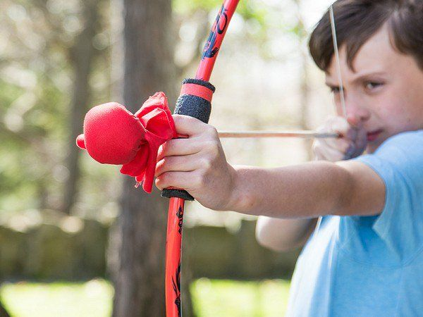 Two young brothers are the inspiration behind kids archery sets for outdoors lovers like them. The Made in the USA kit includes a bow, two matching arrows, and a bullseye target. The stuffed, soft-tipped arrow is gentle for little archers, so they can't poke themselves—or each other—when they work on accuracy, distance, or create their own bow and arrow games.