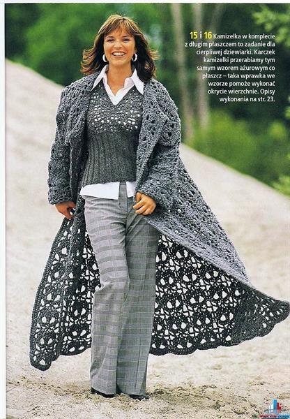 Вязаные женские кардиганы и пальто крючком со схемами