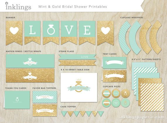 bridal shower decorations printable mint by inklingspaperie