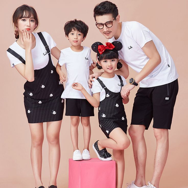 2017 Family Set Cotton T shirt+Overall Dress 2pcs Mother Daughter Dresses Clothes Dad Son O-neck T shirt Family Clothing 3XL ZL2
