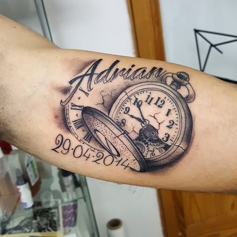 Memorial Pocket Watch Tattoo On Forearm With Adrian Name By David Torres Pocket Watch Tattoos Tattoos For Daughters Tattoos For Kids