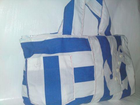 Akciós Matróz táska, Táska, Kék-fehér csíkos vászonanyagból készült ez a táska,ami egy remek nyári darab. Kézben vihet..., Meska