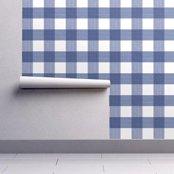 Blue Buffalo Plaid Wallpaper Blue White Plaid By Danika Etsy Plaid Wallpaper Self Adhesive Wallpaper Buffalo Plaid Fabric