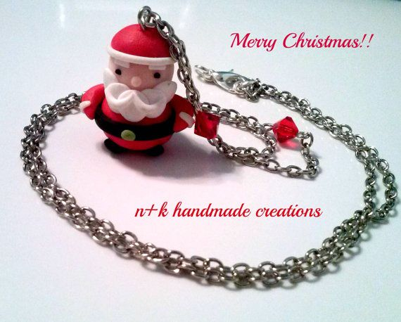 Handmade necklace with cute Santa Claus for by thenkcreations