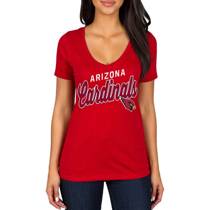 Arizona Cardinals Women's Red Zone Script V-Neck T-Shirt - Cardinal