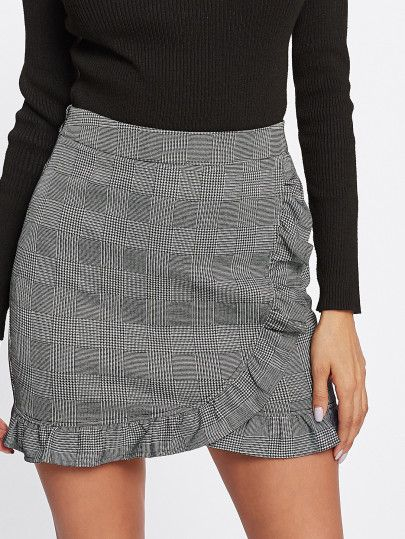 Frill Trim Plaid Wrap Skirt
