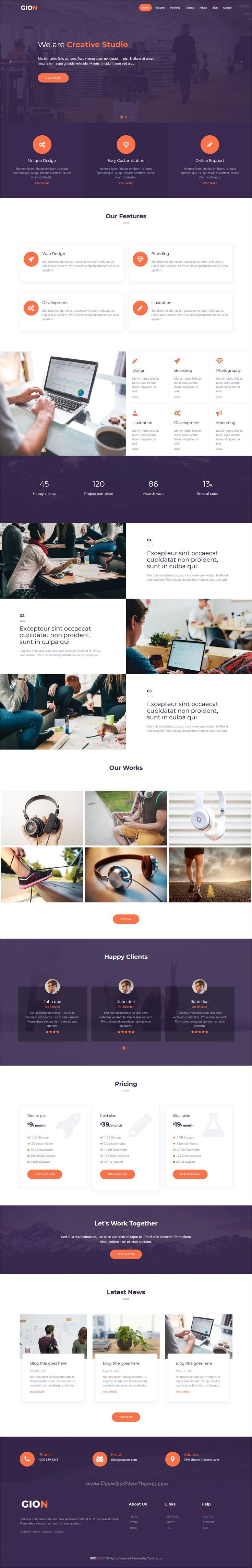 Gion is clean and modern design responsive #bootstrap template for onepage #business agencies website download now.. #ResponsiveWebDesign