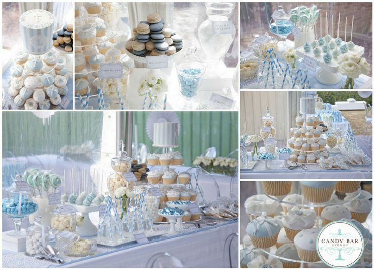 Blue Amp White Christening Candy Buffet Candy Buffet