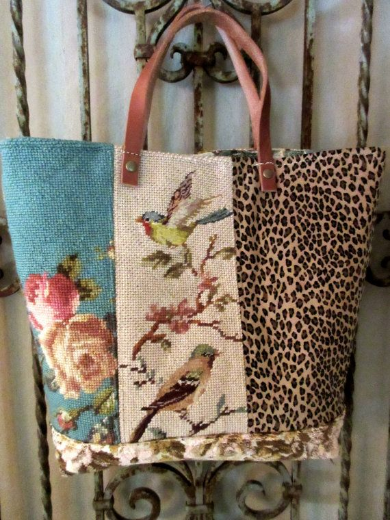 Vintage Needlepoints Roses and Birds Leopard Cut by LadidaHandbags