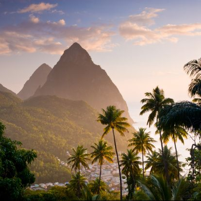 Soufriere and The Pitons, St Lucia, Windward Islands, Caribbean