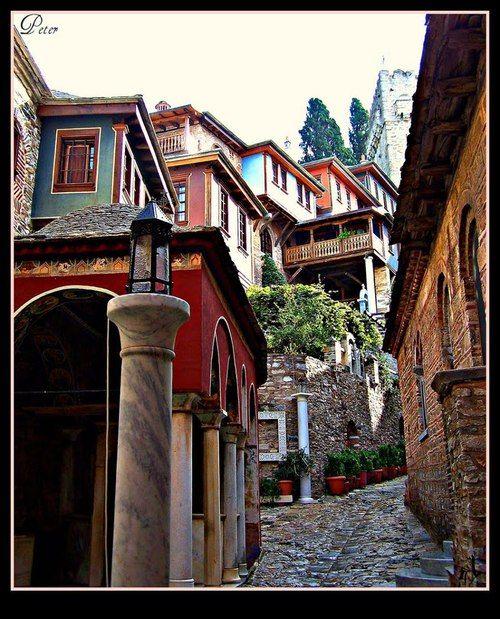 Ιερά Μονή Δοχειαρίου του Αγίου Όρους  Ηoly monastery of Dohiario at Agio Oros, Halkidiki  by Peter