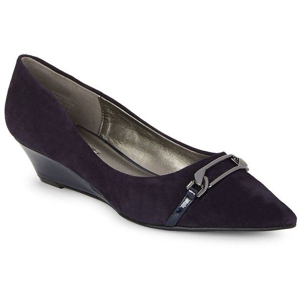 Bandolino Yorinna Point-Toe Wedge Pumps ($21) ❤ liked on Polyvore featuring shoes, pumps, navy blue, wedge shoes, pointed toe wedge pumps, navy wedge pumps, navy pointed toe pumps and navy wedge shoes