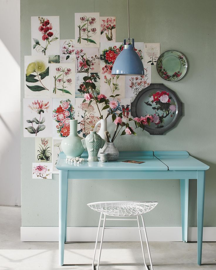 Japanese and Chinese botanical drawings on the wall, including roses and camellias | Styling @cscheulderman | Photographer Jeroen van der Spek | vtwonen May 2015
