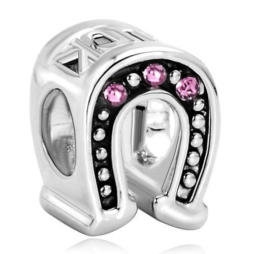 Lucky Horseshoe Werstern Cowgirl Mothers Day Gifts Oct Birthstone Rose Pink Crystal Bead Charm Pandora Chamilia Compatible | Charmsstory.com   #charms #pandora #luckycharms #horseshoe #birthstone